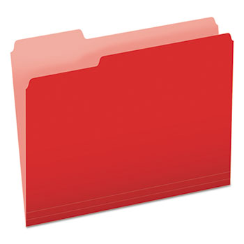 Colored File Folders, 1/3 Cut Top Tab, Letter, Red/Light Red, 100/Box