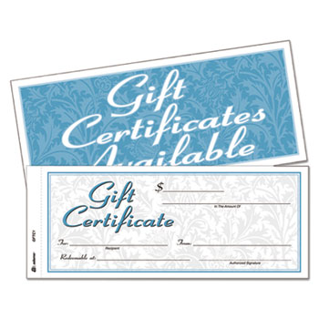 gift certificates w envelopes by adams abfgftc1 ontimesupplies com