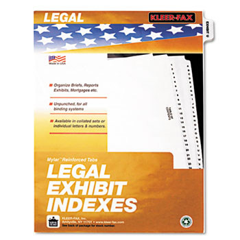 Kleer-Fax® 80000 Series Exhibit Alpha Side Tab Legal Index Divider Thumbnail