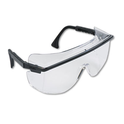 Honeywell Uvex™ Astro OTG 3001 Wraparound Safety Glasses, Black Plastic Frame, Clear Lens - 763-S2500