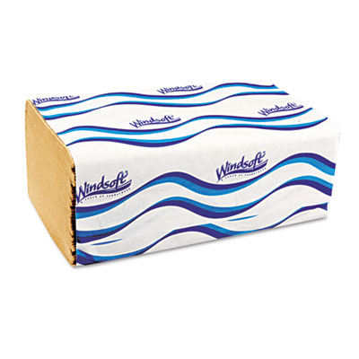 Windsoft® Embossed Singlefold Towels, 9 3/10 x 10 1/2, Natural, 250/Pack, 16 Packs/Carton - WIN106