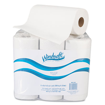 "Windsoft® Paper Towel Roll, 11"" x 8 4/5"", White, 72/Roll, 6 Rolls/Pack - WIN2420"