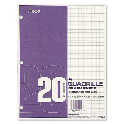 Graph Paper Tablet, 8.5 x 11, Quadrille 4 Squares Per Inch, 3-Hole Punched, 20 Sheets Per Pad, 12 Pads/Pack