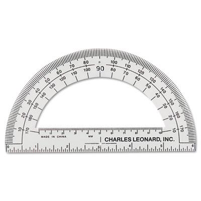 "Open Center Protractor, Plastic, 6"" Ruler Edge, Clear, Dozen"