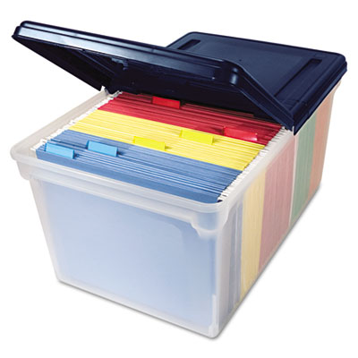 """Extra-Capacity 28"""" File Tote, Letter Files, 23.25"""" x 14.25"""" x 10.63"""", Clear/Navy AVT55797"""
