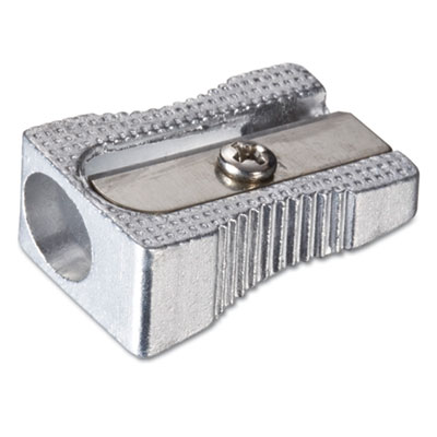 "Metal Pencil Sharpener, 0.63"" x 1"" x 0.38"", Metallic Silver"