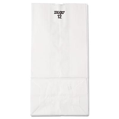 12 Paper Grocery Bag, 40lb White, Standard 7 1/16 x 4 1/2 x 13 3/4