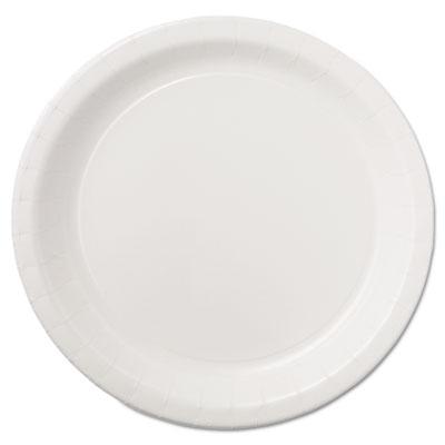 "Coated Paper Dinnerware, Plate, 9"", White, 50/Pack, 10 Packs/Carton"