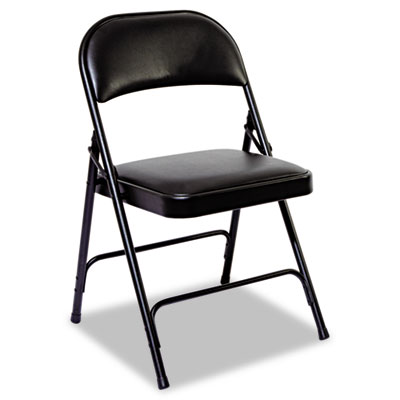 Steel Folding Chair With Padded Back/Seat, Graphite, 4/Carton ALEFC96B