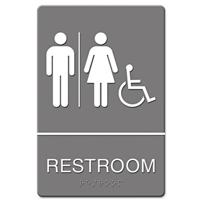 Headline® Sign ADA Sign, Restroom/Wheelchair Accessible Tactile Symbol, Molded Plastic, 6 x 9 - 4811