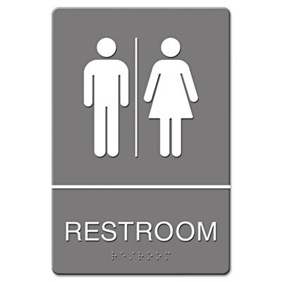 Headline® Sign ADA Sign, Restroom Symbol Tactile Graphic, Molded Plastic, 6 x 9, Gray - 4812