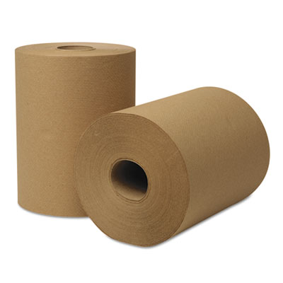 Wausau Paper® EcoSoft Hardwound Roll Towels, 425 ft x 8 in, Natural, 12 Rolls/Carton - 46000