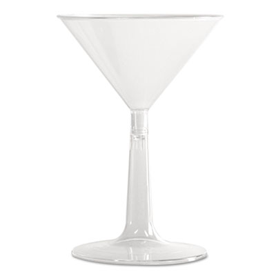 WNA Comet Plastic Martini Glasses, 6 oz., Clear, Two-Piece Construction, 12/Pack - WNA MT696