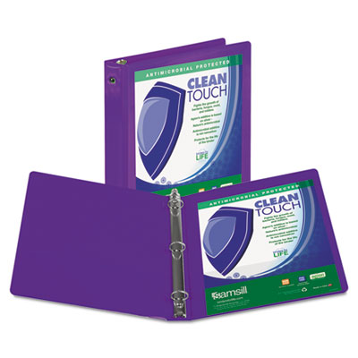 """Clean Touch Round Ring View Binder, Antimicrobial, 1"""", Purple 17238  - 1 Each"""