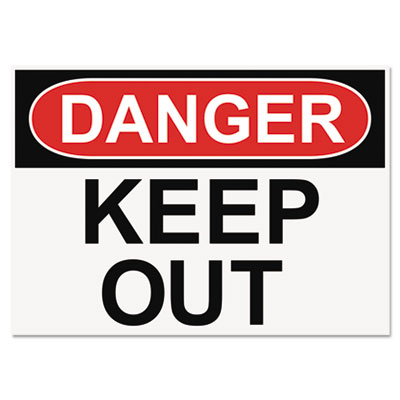 Headline® Sign OSHA Safety Signs, DANGER KEEP OUT, White/Red/Black, 10 x 14 - 5491