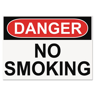 Headline® Sign OSHA Safety Signs, DANGER NO SMOKING, White/Red/Black, 10 x 14 - 5484