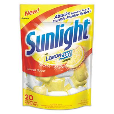 sunlight auto dish power pacs, lemon scent, 1.5 oz single dose pouches, 20/pack