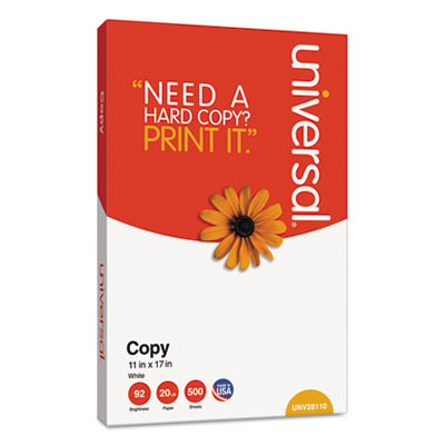 Universal® Copy Paper, 92 Brightness, 20lb, 11 x 17, White, 2500 Sheets/Carton - UNV28110