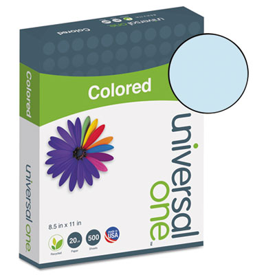 Universal® Colored Paper, 20lb, 8-1/2 x 11, Blue, 500 Sheets/Ream - UNV11202