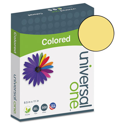 Universal® Colored Paper, 20lb, 8-1/2 x 11, Goldenrod, 500 Sheets/Ream - UNV11205