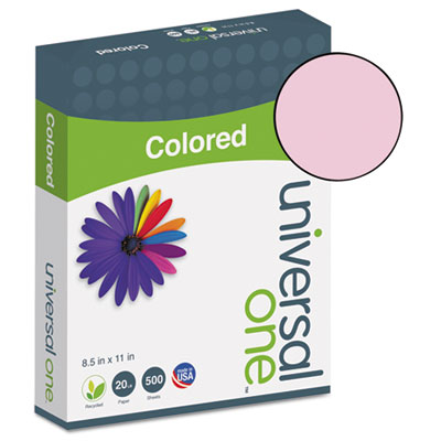Universal® Colored Paper, 20lb, 8-1/2 x 11, Pink, 500 Sheets/Ream - UNV11204