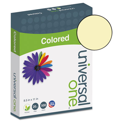 Universal® Colored Paper, 20lb, 8-1/2 x 11, Canary, 500 Sheets/Ream - UNV11201