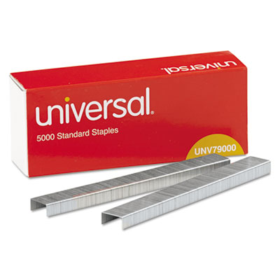 Universal® Standard Chisel Point 210 Strip Count Staples, 5,000/Box, 5 Boxes per Pack - UNV79000VP
