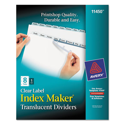 Avery index maker print apply clear label plastic for Avery 8 tab clear label dividers template