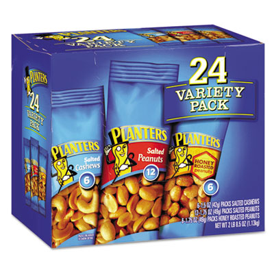 Variety Pack Peanuts and Cashews, 1.75 oz/1.5 oz Bag, 24/Box