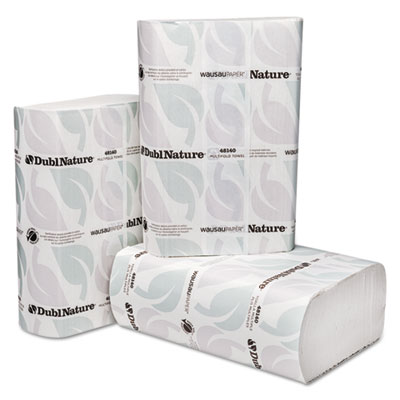 Wausau Paper® DublNature Multifold Towels, White, 9 1/8 x 9 1/2, 250/Pack, 16 Packs/Carton - 48140