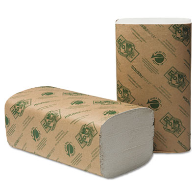 Wausau Paper® EcoSoft Singlefold Towels, Natural White, 250 Towels/Pack, 16 Packs/Carton - 47300