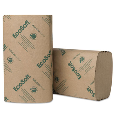 Wausau Paper® EcoSoft Singlefold Towels, Natural, 250 Towels/Pack, 16 Packs/Carton - 47000