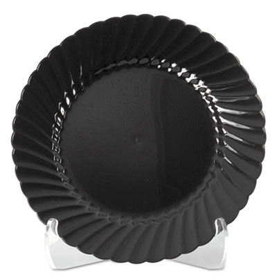 WNA Classicware Plastic Plates, 7 1/2 Inches, Black, Round, 10/Pack, 18 Packs/Carton - WNA CW75180BK