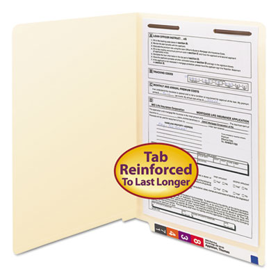 Manila End Tab 1-Fastener Folders with Reinforced Tabs, 0.75 inch Expansion, Straight Tab, Legal Size, 11 pt. Manila, 50/Box