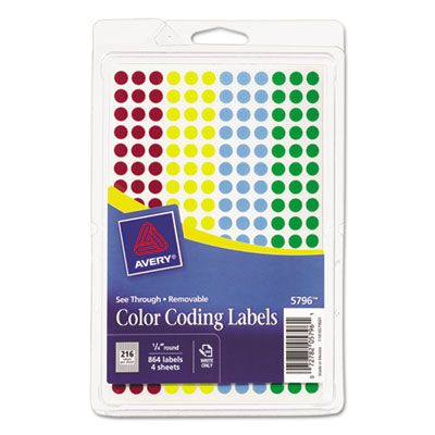 "Avery® Handwrite-Only Self-Adhesive ""See Through"" Removable Round Color Dots"