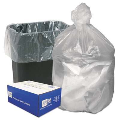 Ultra Plus® High Density Can Liners, 16gal, 8 Microns, 24 x 33, Natural, 1000/Carton - WHD3308
