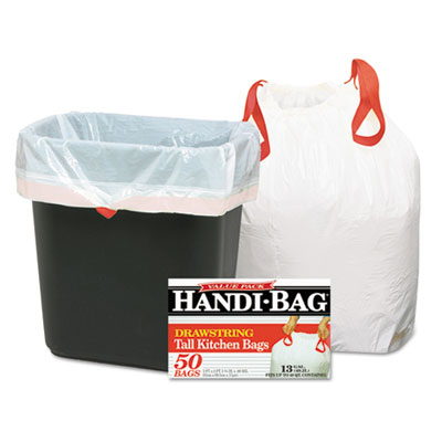 Handi-Bag® Drawstring Kitchen Bags, 13gal, 0.6mil, 24 x 27 3/8, White, 50/Box - HAB6DK50