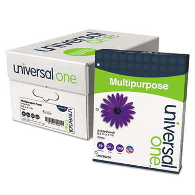 Universal® Multipurpose Paper, 98 Brightness, 20lb, Ltr, 3-Hole Punch, Bright WE, 5000/Ctn - UNV95230