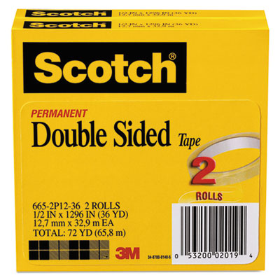 """Double-Sided Tape, 3"""" Core, 0.5"""" x 36 yds, Clear, 2/Pack"""