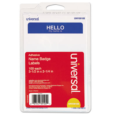 """Hello"" Self-Adhesive Name Badges, 3 1/2 x 2 1/4, White/Blue, 100/Pack UNV39105"
