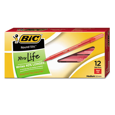 Round Stic Xtra Life Stick Ballpoint Pen, 1mm, Red Ink, Translucent Re
