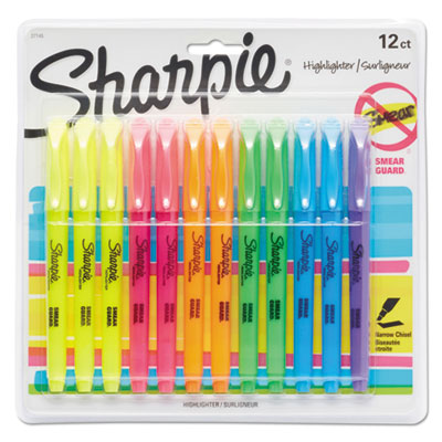 Pocket Style Highlighters, Chisel Tip, Assorted Colors, Dozen