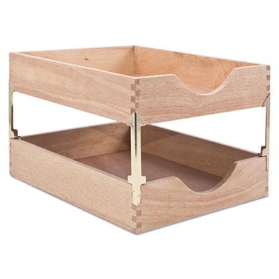 Hardwood Letter Stackable Desk Tray, Oak