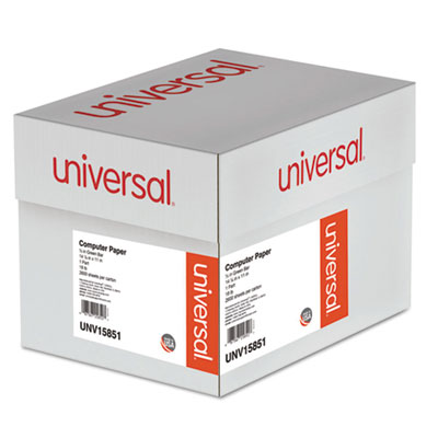Universal® Green Bar Computer Paper, 18lb, 14-7/8 x 11, Perforated Margins, 2600 Sheets - UNV15851