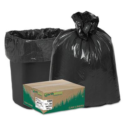 Earthsense® Commercial Recycled Can Liners, 16gal, .85 Mil, 24 x 33, Black, 500/Carton - RNW3310