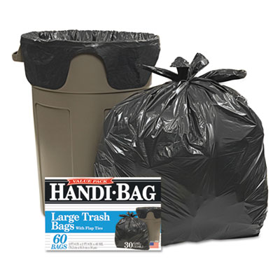 Handi-Bag® Super Value Pack Trash Bags, 30gal, .65mil, 30 x 33, Black, 60/Box - HAB 6FT60