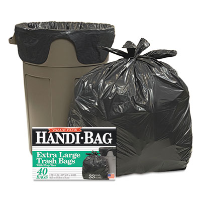 Handi-Bag® Super Value Pack Trash Bags, 33gal, .65mil, 32.5 x 40, Black, 40/Box - HAB 6FTL40