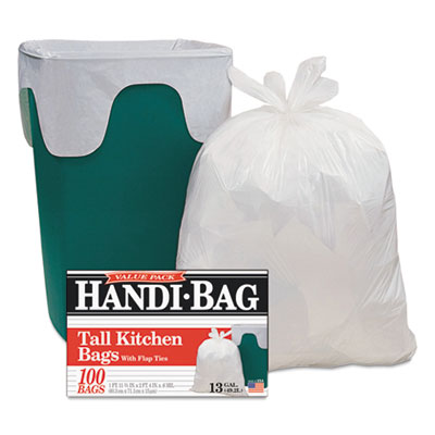 Handi-Bag® Super Value Pack Trash Bags, 13gal, 0.6mil, 23 3/4 x 28, White, 100/Box - HAB 6FK100