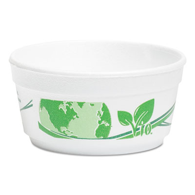WinCup® Vio Biodegradable Food Containers, 12 oz Bowl, Foam, White/Green, 500/Carton - F12VIO