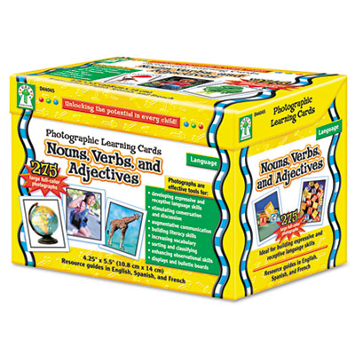 Photographic Learning Cards Boxed Set, Nouns/Verbs/Adjectives, Grades
